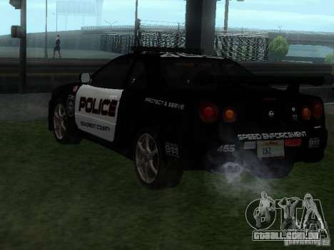 Nissan Skyline R34 Police para GTA San Andreas esquerda vista