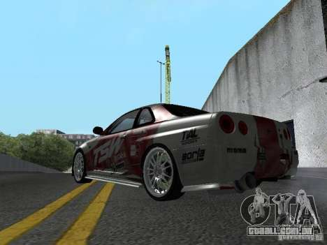 Nissan Skyline R 34 para GTA San Andreas vista direita