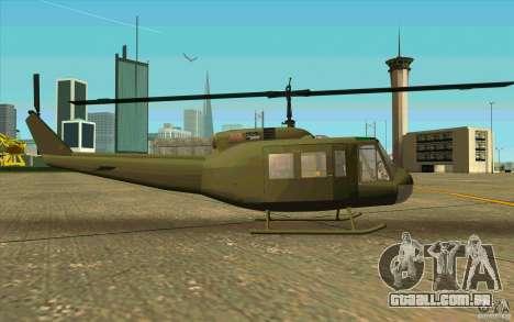 UH-1D Slick para GTA San Andreas traseira esquerda vista