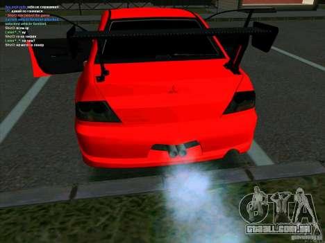 Mitsubishi Lancer Drift para GTA San Andreas traseira esquerda vista