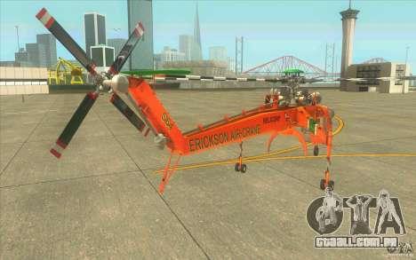 Sikorsky Air-Crane S-64E para GTA San Andreas traseira esquerda vista