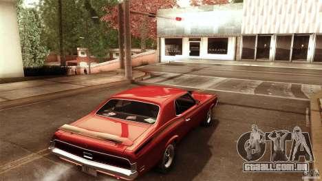 Mercury Cougar Eliminator 1970 para GTA San Andreas traseira esquerda vista