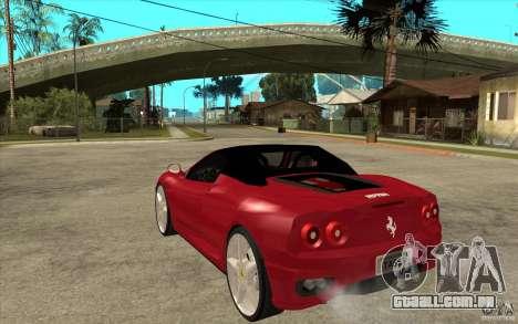 Ferrari 360 Spider para GTA San Andreas traseira esquerda vista