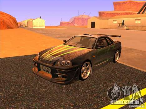 Nissan Skyline R34 Tunable para GTA San Andreas vista superior