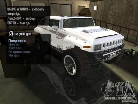 Hummer HX Concept from DiRT 2 para vista lateral GTA San Andreas