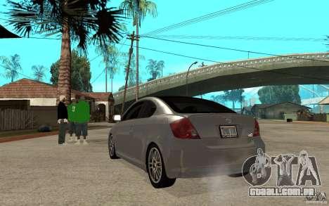 Scion tC - Stock para GTA San Andreas traseira esquerda vista