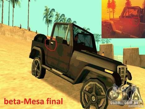 Mesa From Beta Version para GTA San Andreas vista direita