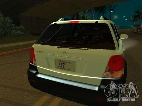 KIA Sorento para GTA San Andreas traseira esquerda vista