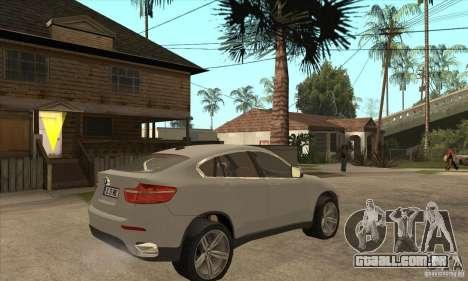 BMW X6 para GTA San Andreas vista direita