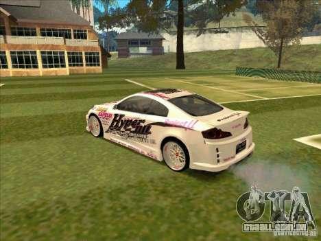 Infiniti G35 Top Secret para GTA San Andreas traseira esquerda vista