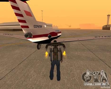 O avião Yak-40 para GTA San Andreas traseira esquerda vista
