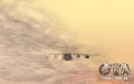 C-17 Globemaster III para GTA San Andreas traseira esquerda vista