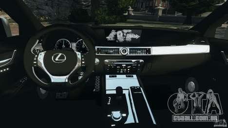 Lexus GS350 2013 v1.0 para GTA 4 vista de volta
