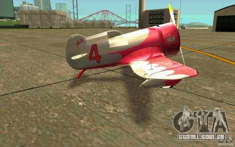 GeeBee typeZ para GTA San Andreas traseira esquerda vista