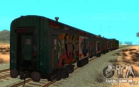 New Graffity Train para GTA San Andreas traseira esquerda vista
