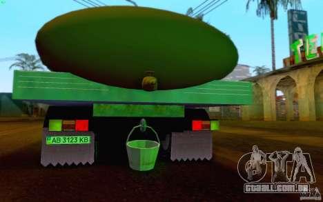 Tanque de leite GAZ 3309 para GTA San Andreas vista interior
