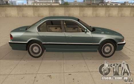 BMW 750iL 1995 para GTA San Andreas vista interior
