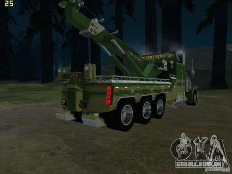 Peterbilt 379 Wrecker para GTA San Andreas vista traseira