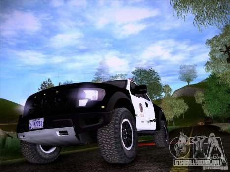 Ford Raptor Police para GTA San Andreas vista interior