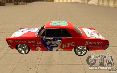 Pontiac GTO 1965 NFS Pro Street com novos vinis para GTA San Andreas vista superior
