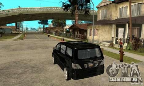 Toyota Alphard Hybrid para GTA San Andreas traseira esquerda vista