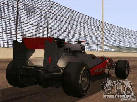 McLaren MP4-25 F1 para GTA San Andreas esquerda vista