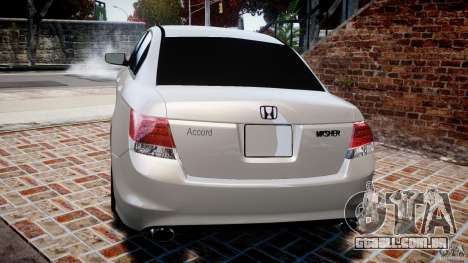 Honda Accord 2009 para GTA 4 traseira esquerda vista