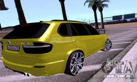 BMW X5M ouro para GTA San Andreas esquerda vista