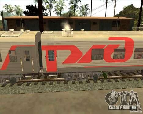 Carro de passageiro RZD para GTA San Andreas traseira esquerda vista