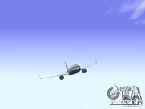 Boeing 757-200 United Airlines para GTA San Andreas traseira esquerda vista