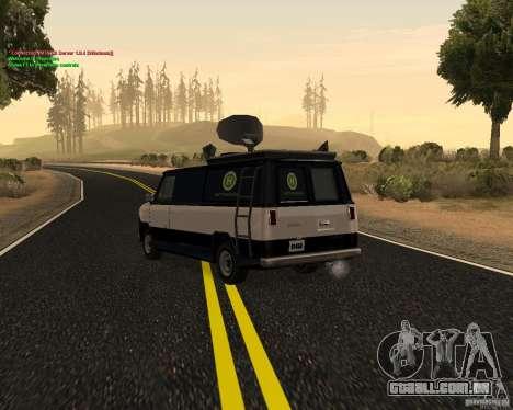 New News Van para GTA San Andreas traseira esquerda vista