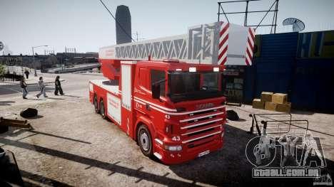 Scania Fire Ladder v1.1 Emerglights red [ELS] para GTA 4 vista direita