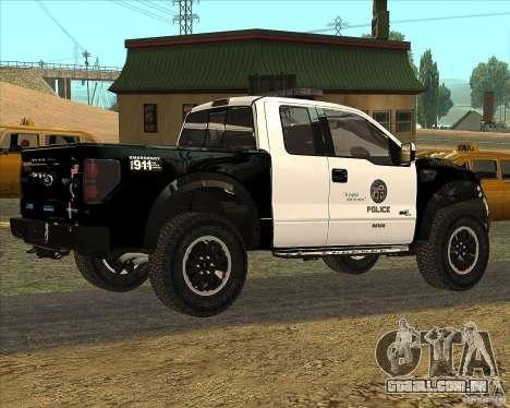 Ford Raptor Police para GTA San Andreas traseira esquerda vista