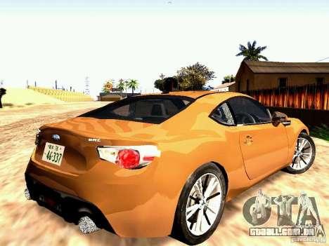 Subaru BRZ para GTA San Andreas esquerda vista