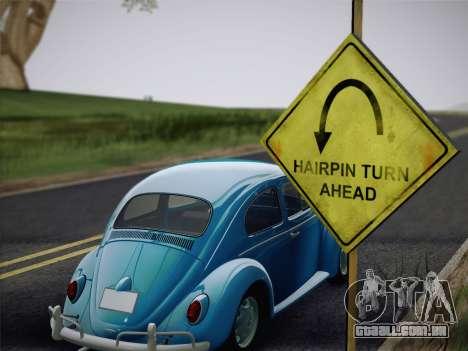 Volkswagen Beetle 1967 V.1 para GTA San Andreas vista traseira