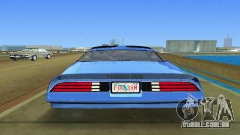 Pontiac Trans Am 77 para GTA Vice City vista traseira esquerda