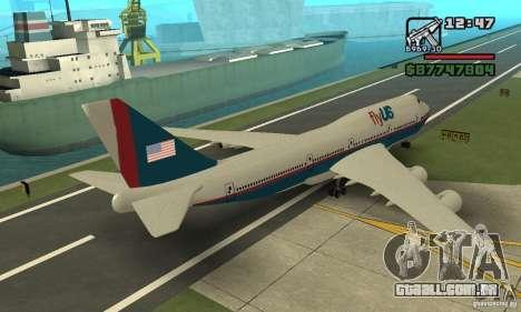 Aeronave do GTA 4 Boeing 747 para GTA San Andreas esquerda vista