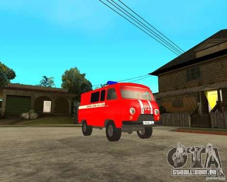 Brigada de incêndio UAZ para GTA San Andreas vista traseira