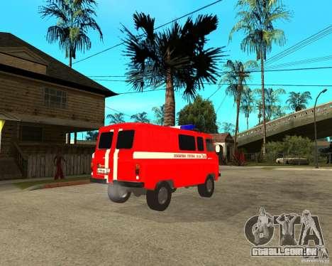 Brigada de incêndio UAZ para GTA San Andreas vista direita