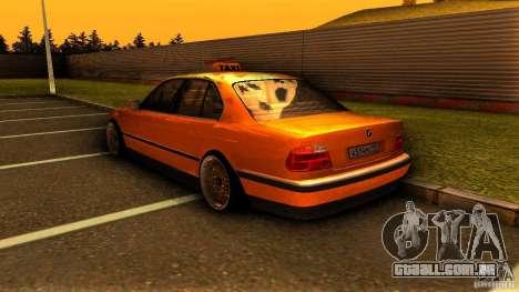 BMW 730i Taxi para GTA San Andreas traseira esquerda vista