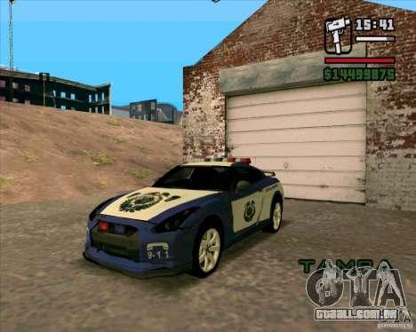 Nissan GTR35 Police Undercover para GTA San Andreas traseira esquerda vista