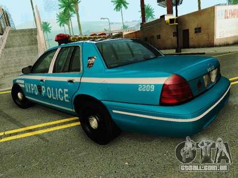 Ford Crown Victoria 2003 NYPD Blue para GTA San Andreas traseira esquerda vista