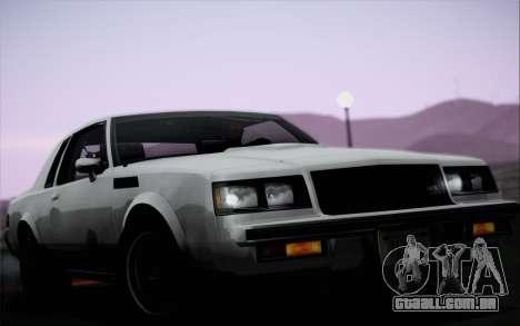 Buick GNX 1987 para vista lateral GTA San Andreas
