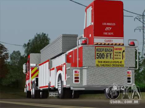 Pierce Arrow XT LAFD Tiller Ladder Trailer para GTA San Andreas vista inferior