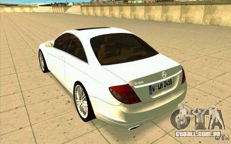 Mercedes Benz CL 500 para GTA San Andreas traseira esquerda vista