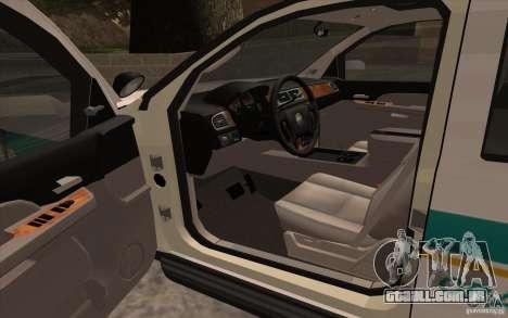 Chevrolet Avalanche Orange County Sheriff para GTA San Andreas vista direita