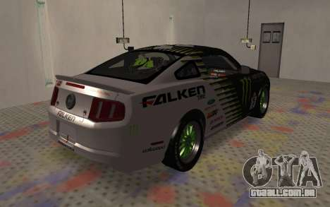 Ford Mustang GT Falken Monster 2010 v2.0 para GTA San Andreas traseira esquerda vista