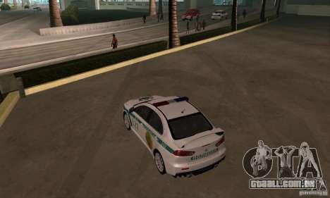 Mitsubishi Lancer Evolution X polícia do Cazaqui para GTA San Andreas vista interior