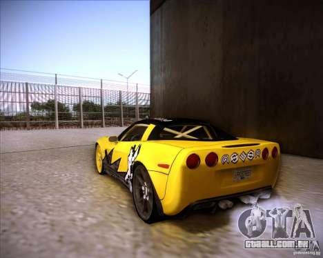 Chevrolet Corvette C6 super promotion para GTA San Andreas esquerda vista