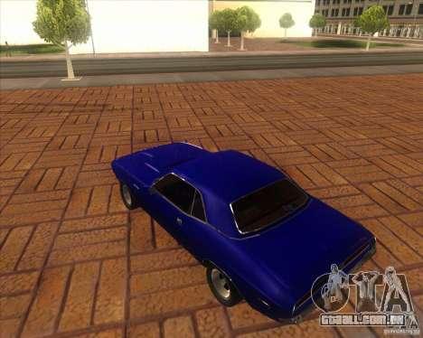 Dodge Challenger RT Hemi para GTA San Andreas traseira esquerda vista